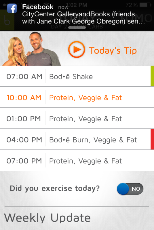 My Day 2 Schedule (Low Carb)