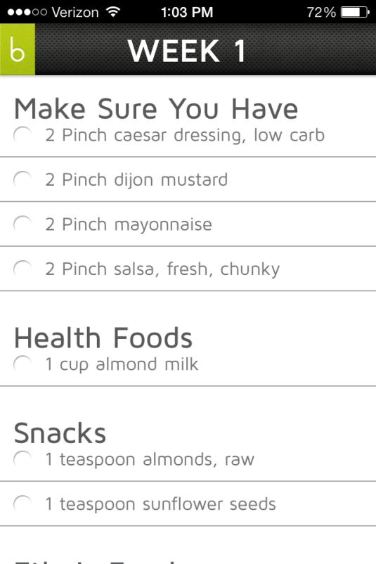 My Grocery List - Week 1